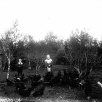 Gutt og pike mater høns på prestegardstunet.Barna til presten Munch.  Han var prest fra 1905-11.